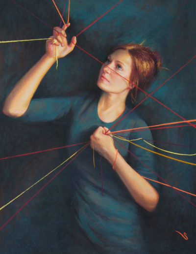 """Threads"" Pastel, 40 x 30""<br /><span style=""font-size:smaller;"">IAPS ""Prix de Pastel"" Best of Show, Master's Circle International Exhibition 2015.  2nd China (Suzhou) Biennial International Pastel Exhibition 2016.</span>"